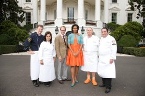The First Lady Michelle Obama with Mario Batali at White House