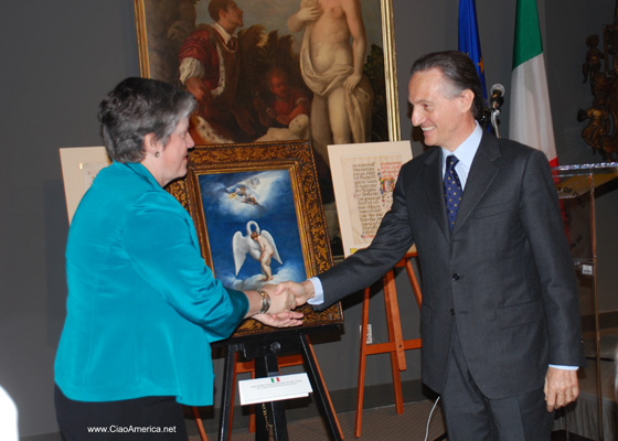 Homeland Security Secretary Janet Napolitano, Italian Ambassador Claudio Bisogniero